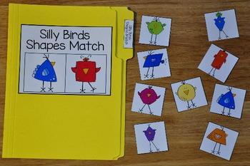 Spring File Folder Game:  Silly Birds Shapes Match