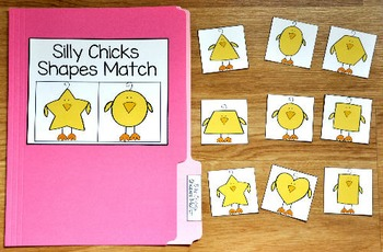 Spring File Folder Game: Silly Chicks Shapes Match