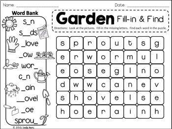 Spring Word Search: Fill-in-and-Find Phonics Puzzles (vocabulary, ESL)