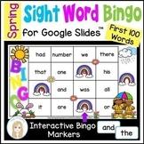 Spring First 100 Sight Words Digital Bingo Game for Google