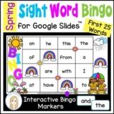 Spring First 25 Sight Words Digital Bingo Game for Google Slides™