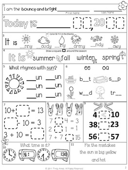 Morning Work Spring Bundle: First Grade (MARCH APRIL MAY)