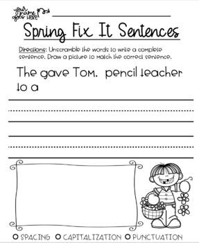 Spring Fix It Sentences & Paragraphs Bundle