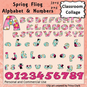 Alphabet and Numbers Clip Art - Spring Fling - capital & lowercase pers/comm use