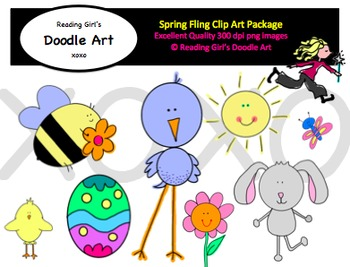 spring clipart by reading girl xoxo teachers pay teachers rh teacherspayteachers com Spring Coloring Printables Spring Flowers Clip Art