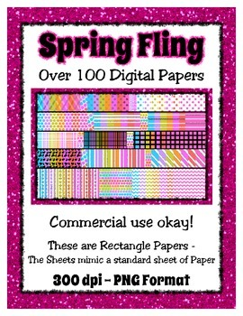 Spring Fling Digital Paper Background Bundle Collection - Commercial Use Okay
