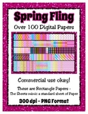 Spring Fling Digital Paper Background Bundle Collection -