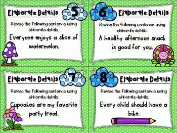 Spring Fling Writing Test Prep Task Cards