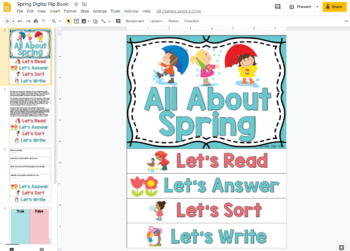 Spring Flip Book; Spring Activities for Reading