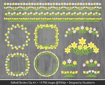 Spring Floral Borders Clip Art, Pink and Yellow Daffodil Frames and Accents