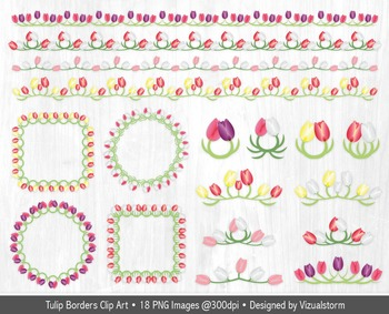 Spring or Summer Tulip Borders, Frames and Accents - Floral Clipart Elements