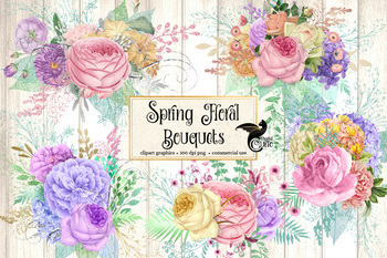Spring Floral Bouquets Clipart Pastel Roses Rustic Wedding Clip Art