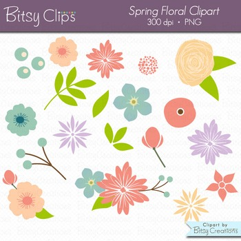 Spring Floral Flowers Digital Art Set Clipart Commercial Use Clip Art