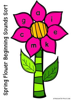 Spring flower beginning sounds sort pre k preschool and kindergarten mightylinksfo