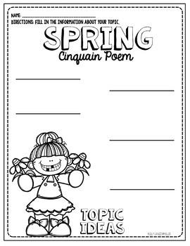 Spring Flower Cinquain Poem Craftivity and graphic organizers