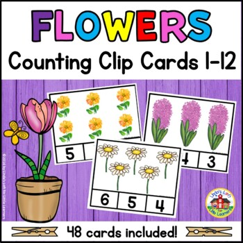 Spring Flowers Counting Clip Cards 1-10