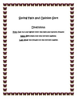 Spring Flower Easter Fact and Opinion Sort Common Core