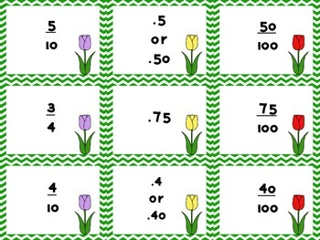 Spring Flower Fraction Matching: Fractions and Decimals