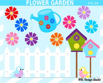 Spring Flower Garden Clip Art for Personal and Commercial Use
