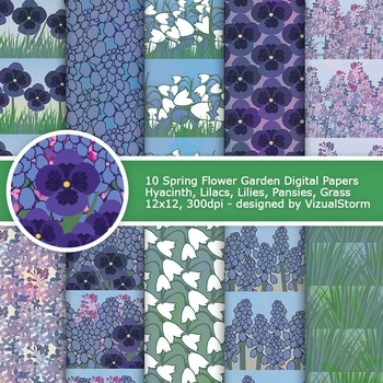 Flower Digital Paper, 10 Printable Lavender Floral Patterns - Spring Garden