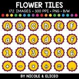 Spring Flower Letter and Number Tiles Clipart
