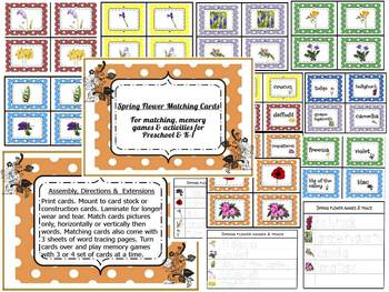 Spring Flower Matching Cards/Pre-reading Activity & Games for Pre-K
