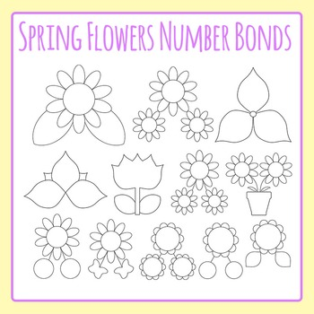 Spring Flower Number Bonds Clip Art Set for Commercial Use