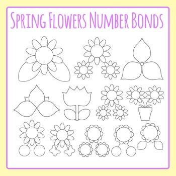 Spring Flower Number Bonds Clip Art Set for Commercial Use
