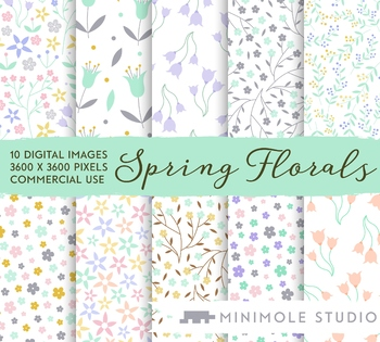 Spring Flower Patterns Digital Papers, Floral Botanical Patterns