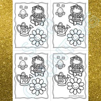 """Flower Petals """"Skip Counting Flash Cards"""" (By 10)"""