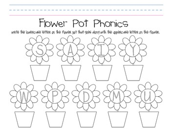 Spring Flower Pot Uppercase and Lowercase Letter Practice