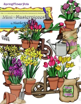 Clip Art: Spring Tulip Daffodil Flower Pots and Plantings