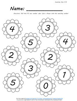 Spring Flower Roll and Color Math Activities