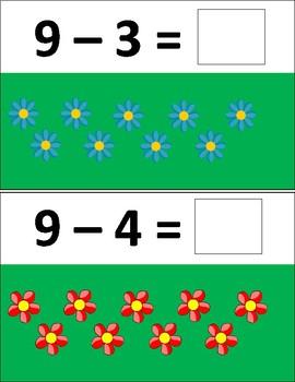 Spring Flower Subtraction Task Cards 0-10