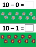 Spring Flower Subtraction Task Cards 0-10