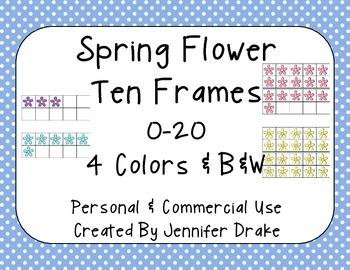 Spring Flower Ten Frames 0-20; 4 Colors PLUS B&W; Commercial Use OK