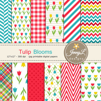 Spring Flower Tulip Digital Paper