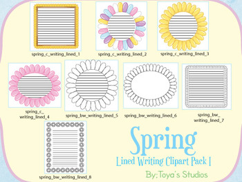 Spring Flower lined writing clipart pack I