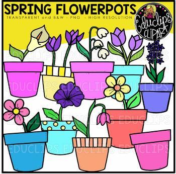 Spring Flowerpots Clip Art Bundle {Educlips Clipart}