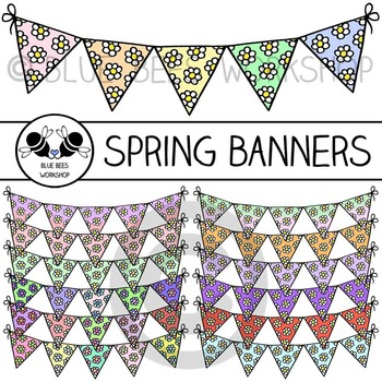 Spring Flowers Bunting Banner Clip Art