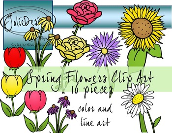 Spring Flowers Clip Art - Color and Line Art 16 pc set
