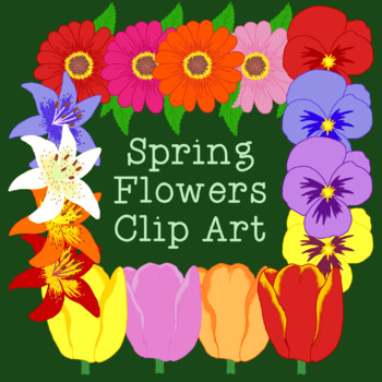 Spring Flowers Clip Art PNG JPG Commercial Personal Lily Tulip Zinnia Pansy