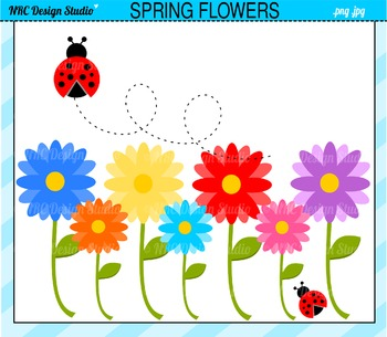 Spring flowers ladybug clipart commercial use