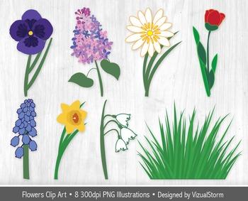 Spring Flowers Clip Art - 8 Popular Spring Garden Flower Illustration Collection