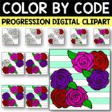Spring Flowers Color by Code Progression Digital Clip Art Set 5