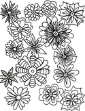Spring Flowers Coloring Sheet