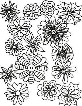 Spring Flowers Coloring Sheet