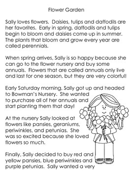 Spring Flowers: Common Core Text and Response Sheets