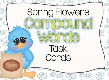 Spring Flowers Compound Words Task Cards
