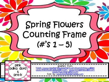 Spring Flowers Counting Frame (#'s 1 - 5) ~ Number Recogni
